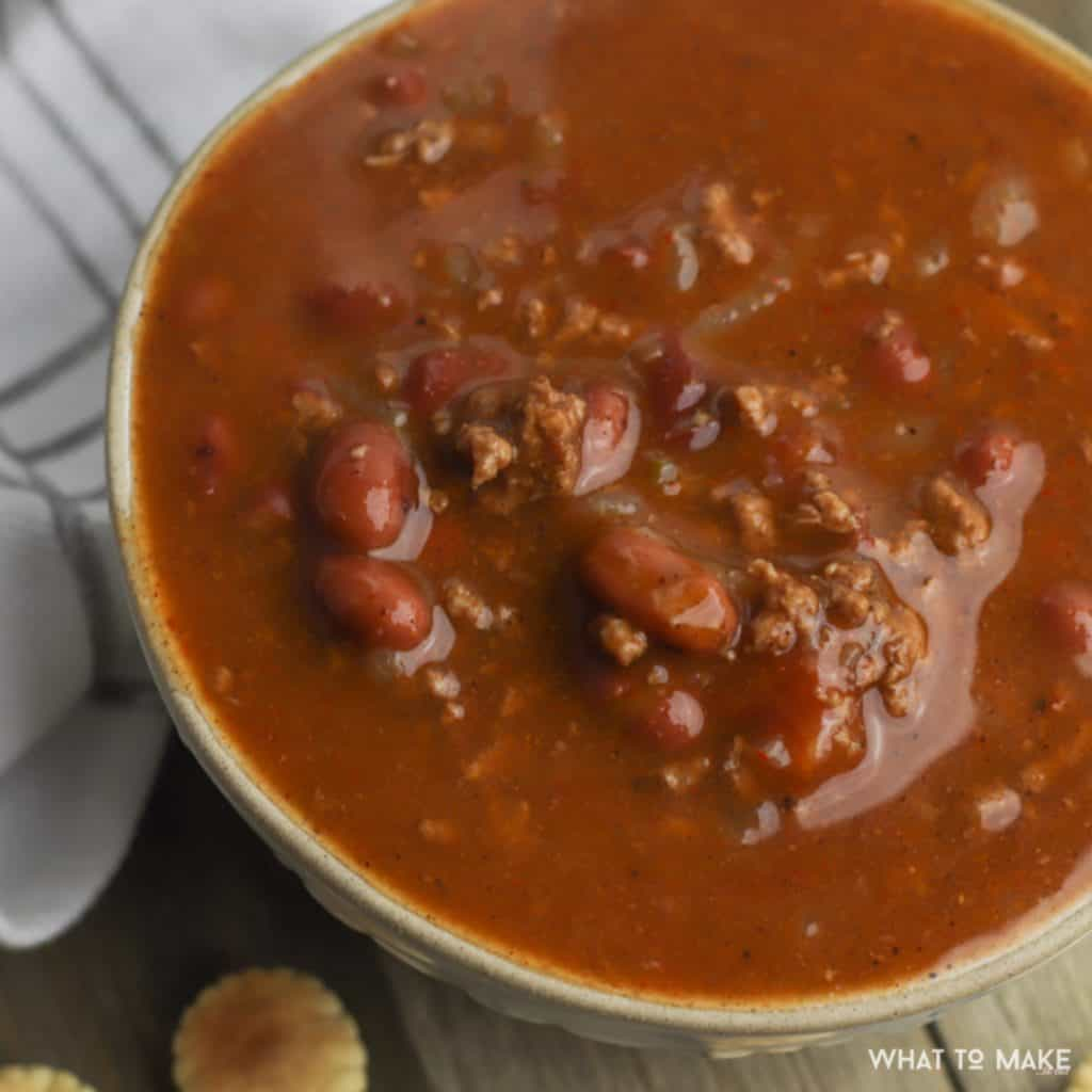 Delicious bowl of chili made in a pressure cooker