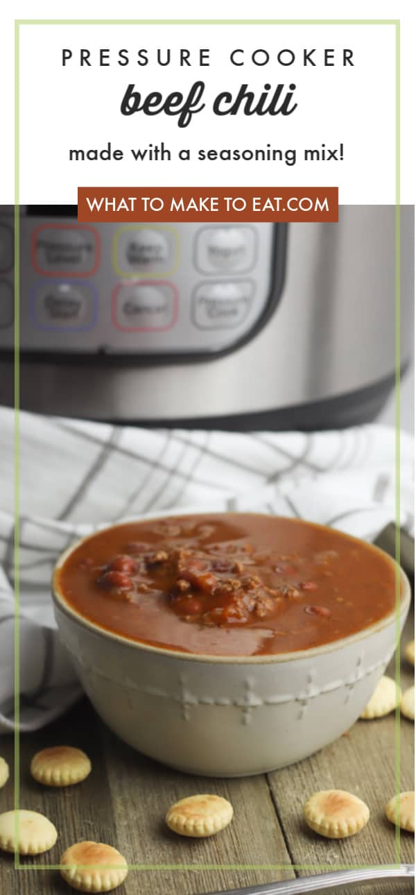 An easy pressure cooker beef chili recipe that's ready in 30 minutes! It's made with ground beef, canned beans, and a seasoning mix. Easy to make and simple pantry ingredients. Top with shredded cheese and sliced green onions, and serve some cornbread on the side!
