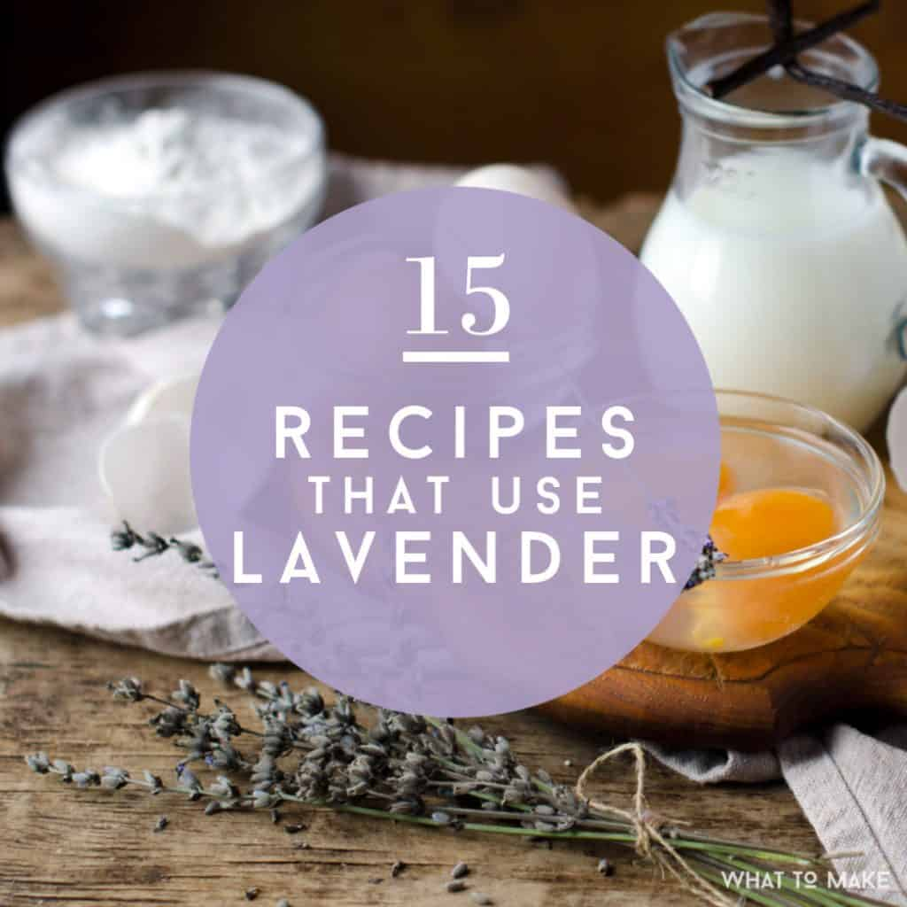 "Sprig of edible lavender with eggs, milk and flour. Text says ""15 Recipes that use lavender"""