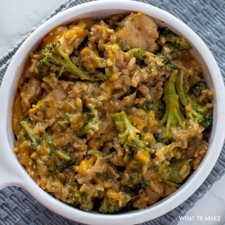 IMage of a creamy chicken and rice bake.