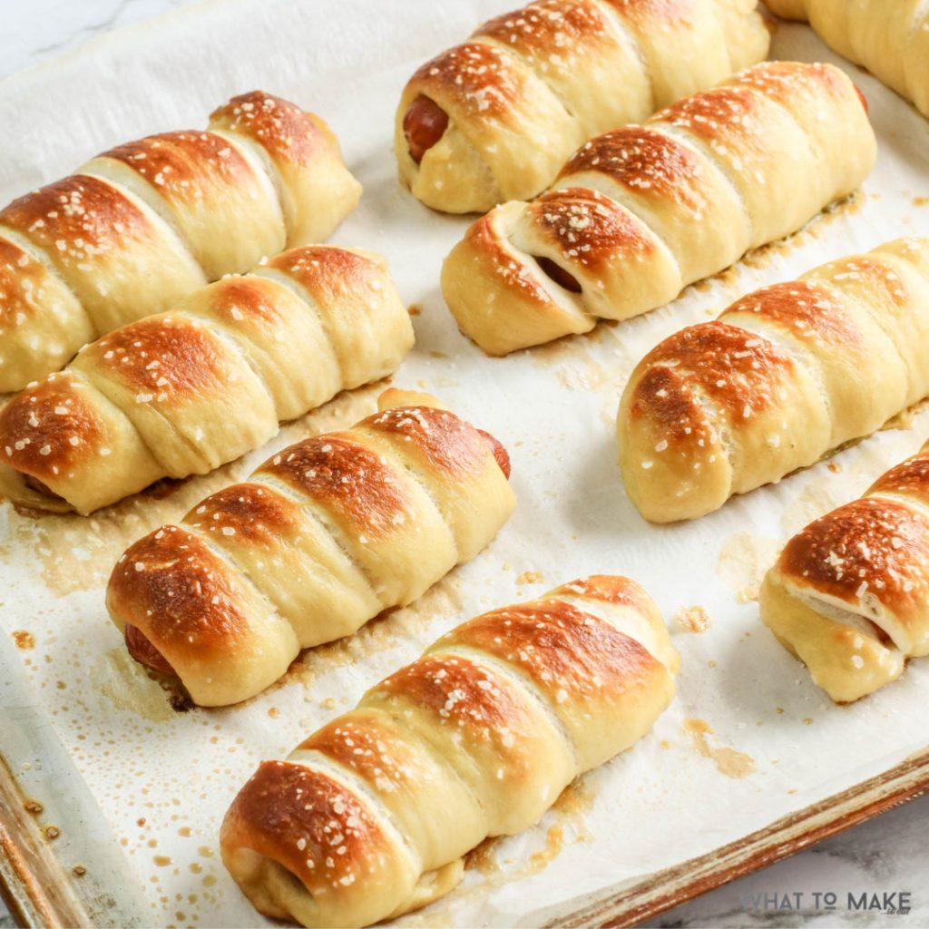 pretzel hot dogs on a sheet pan