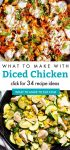 """Dishes made with diced chicken. Text Reads: """"What to make with diced chicken"""""""