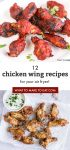 """Two images of air fryer chicken wings. Text reads """"12 chicken wing recipes for your air fryer!"""""""