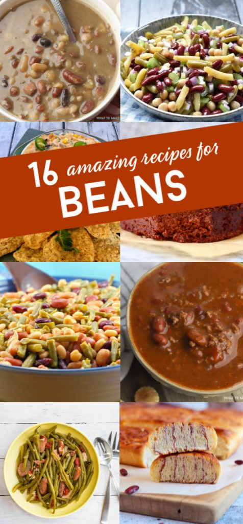 "8 images of bean based meals. Text reads ""16 amazing recipes for beans"""