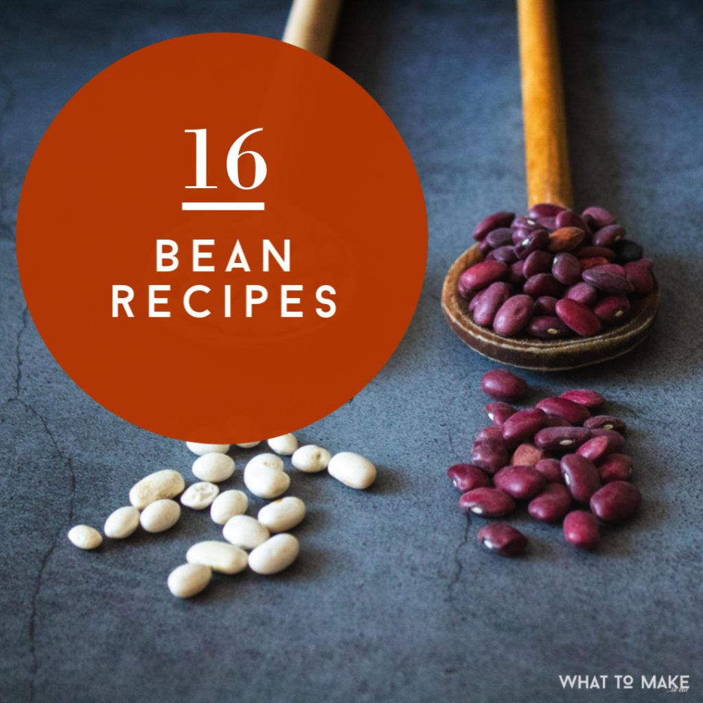 "spoons of dried beans. Text reads ""16 bean recipes"""