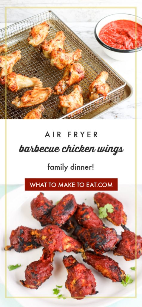 "top image is an in process shot of air fryer bbq chicken wings. Bottom image is of a plate of air fryer bbq chicken wings. Text reads ""air fryer barbecue chicken wings family dinner."""
