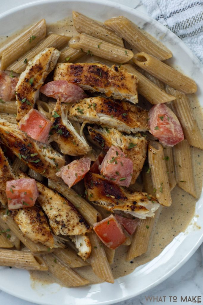 Image is of an easy cajun chicken pasta penne dish.