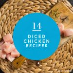 """What to make with diced chicken. Text reads """"14 diced chicken recipes"""""""