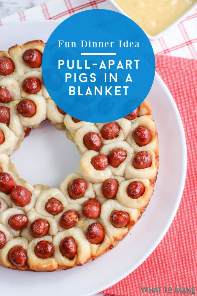 """Image of Pull apart lil smokies pigs in a blanket recipe. Text reads """"fun dinner idea! Pull-apart pigs in a blanket"""""""