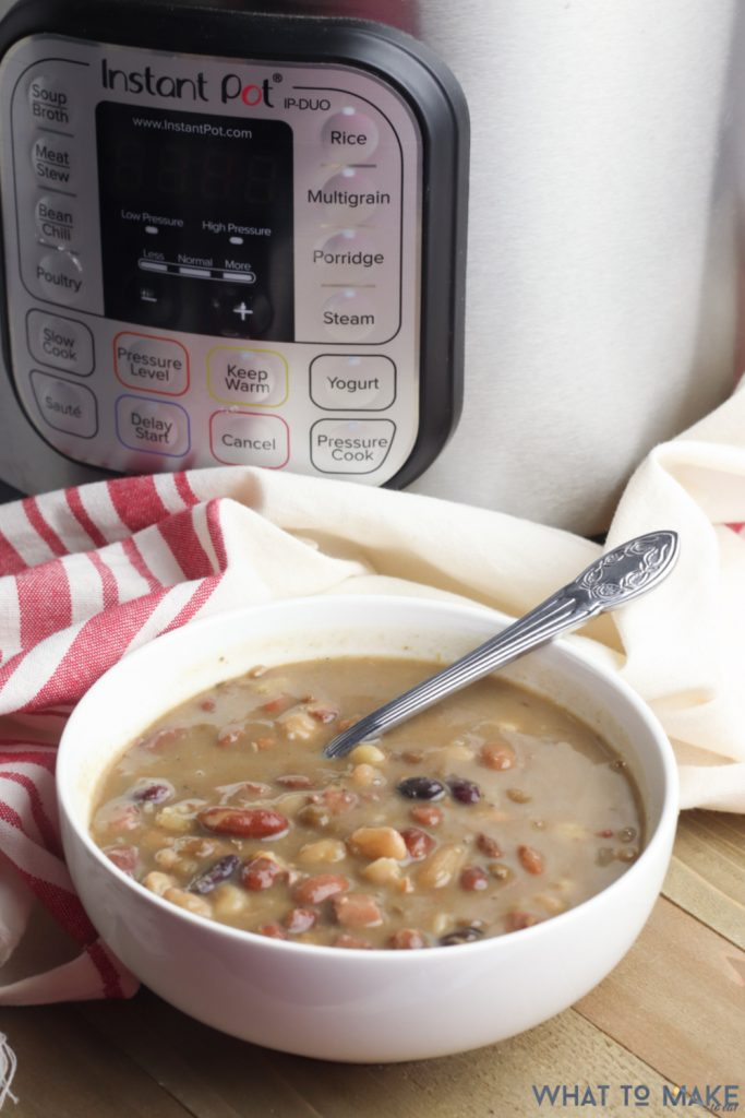 Bowl of Cajun 15 bean soup cooked in a pressure cooker.