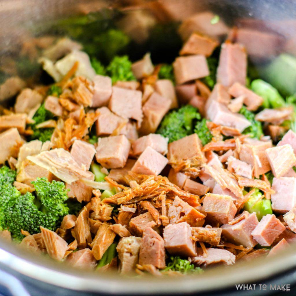 In process pressure cooker ham, broccoli, and rice casserole