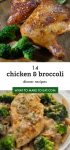 Several images of chicken and broccoli recipes.