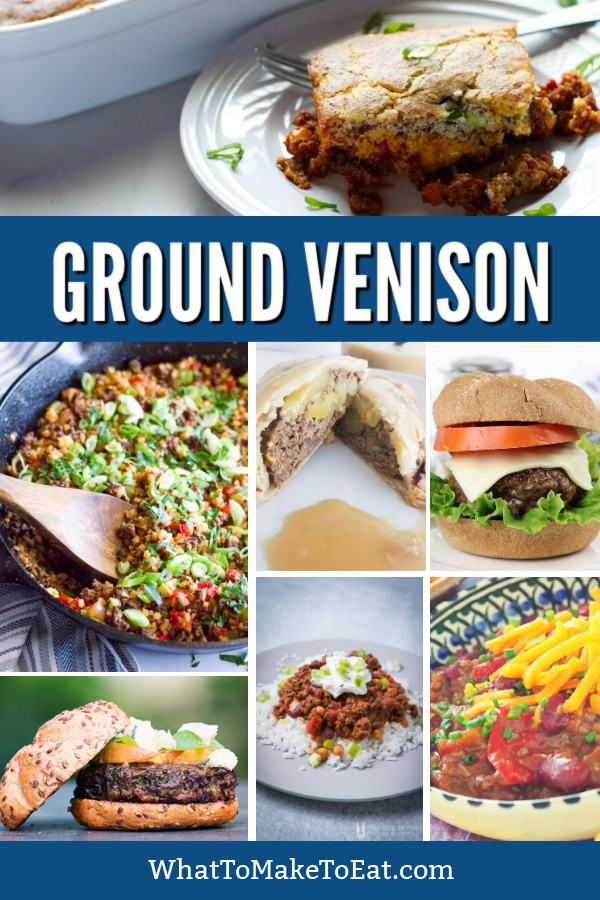 Collage of several ground venison recipes.