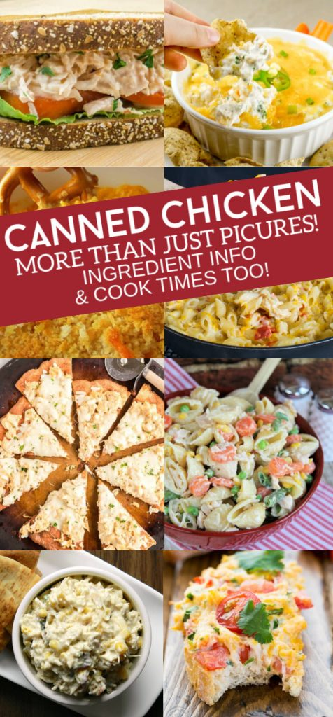 Collage of several canned chicken ideas