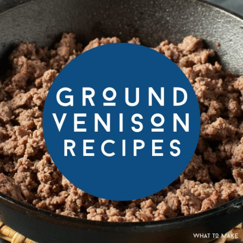 "Pan filled with cooked ground venison. Text reads ""ground venison recipes"""