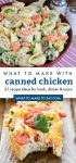 """2 images of recipes made with canned chicken. text reads """"what to make with canned chicken. 21 recipe ideas for lunch, dinner, & more"""""""