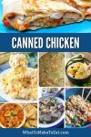 Collage of several canned chicken recipes