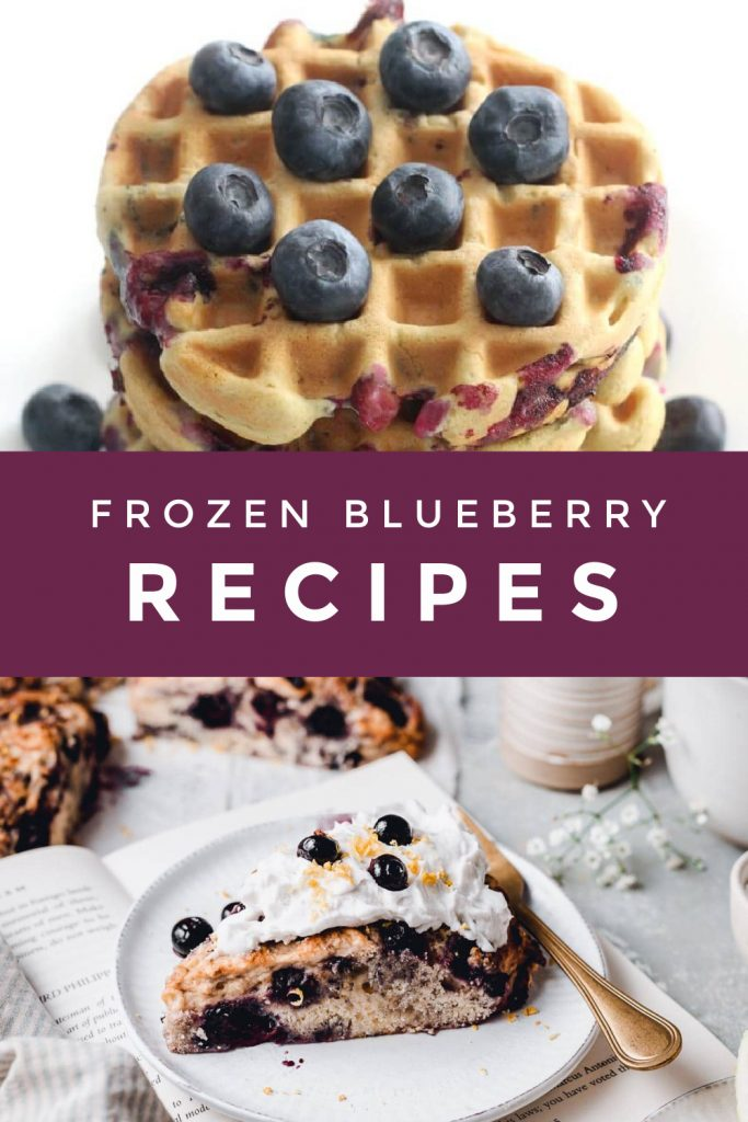 """Collage of foods made with frozen blueberries. Text reads """"frozen blueberry recipes"""""""