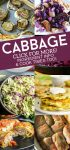 "Collage of cabbage dishes. Text reads ""Cabbage, Click for more! Ingredient info & cook times too."""