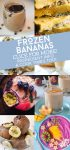 """Collage of frozen banana recipes. Text reads """"Frozen bananas. Click for More! Ingredient info & cook times too!"""""""