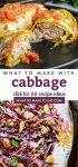 """Collage of cabbage dishes. Text reads """"What to make with cabbage. Click for 66 recipe ideas."""""""