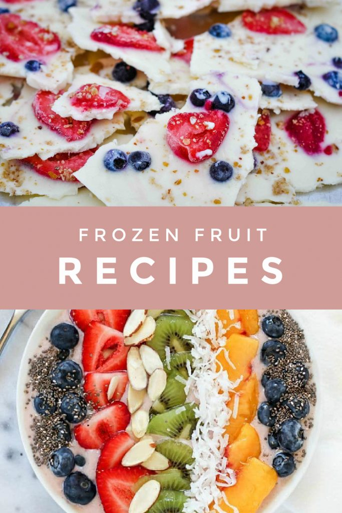 """Collage of foods made from frozen fruit. Text reads """"Frozen Fruit Recipes"""""""