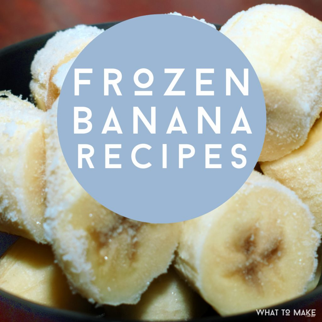 "Image of frozen bananas. Text reads ""Frozen Banana Recipes"""