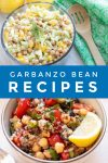 """Images of dishes made with chickpeas. Text reads """"Garbanzo bean recipes"""""""