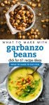 """Images of dishes made with chickpeas. Text reads """"What to make with garbanzo beans. Click for 61 recipe ideas"""""""