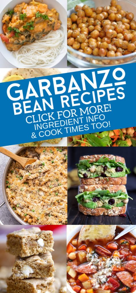 "Images of dishes made with chickpeas. Text reads ""Garbanzo bean recipes. Click for more! Ingredient info & cook times too!"""