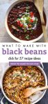 """Images of dishes made with black beans. Text reads """"What to make with black beans. Click for 57 recipe ideas"""""""