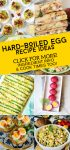 """Images of dishes made with hard-boiled eggs. Text reads """"Hard-boiled egg recipe ideas. Click for more! Ingredient info & cook times too!"""""""