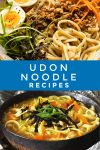 """Images of dishes made with Udon Noodles. Text reads """"Udon Noodle Recipes"""""""