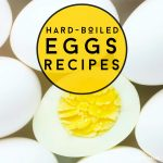 """Image of hard boiled eggs. Text reads """"Hard-boiled eggs recipes"""""""