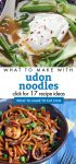 """Images of dishes made with Udon Noodles. Text reads """"What to make with udon noodles. Click for 17 recipe ideas"""""""