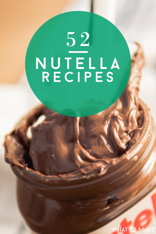 "Jar of Nutella, Chocolate Hazelnut spread. Text reads: ""52 Nutella Recipes"""