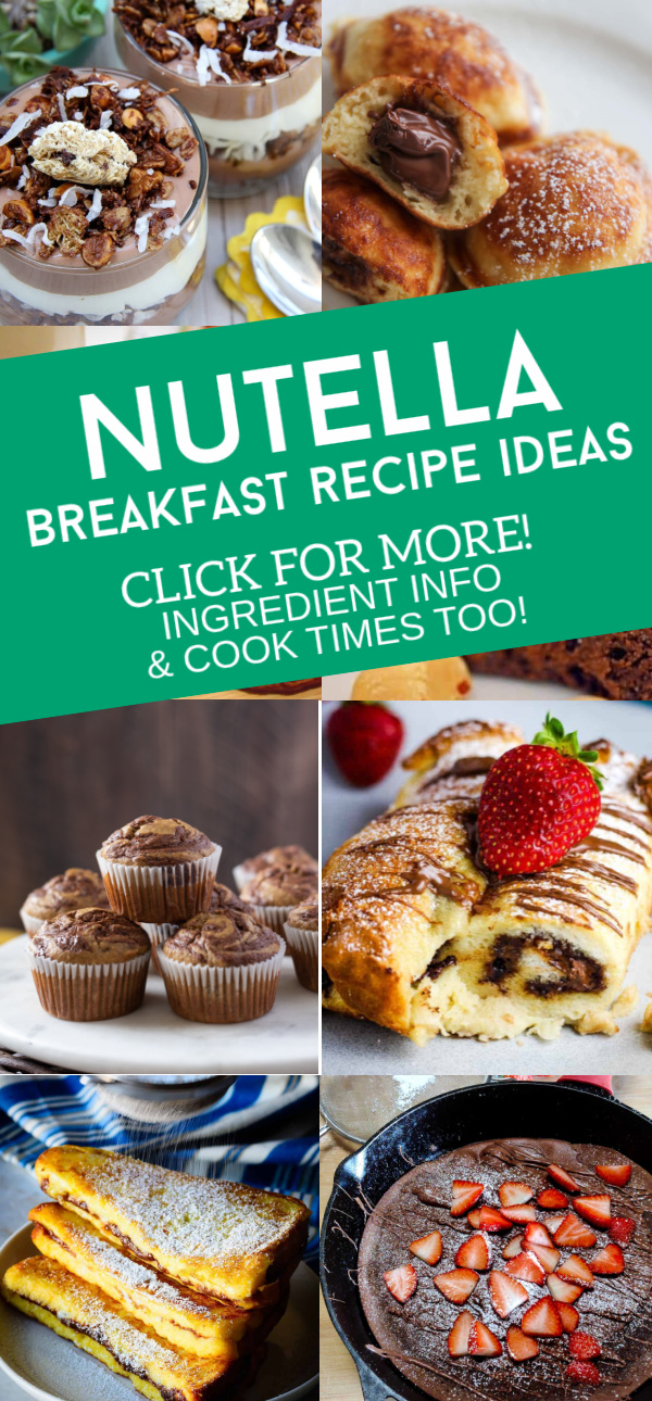 """Images of dishes made with Nutella (chocolate hazelnut spread). Text reads """"Nutella Breakfast Recipe Ideas. Click for more! Ingredient info & cook times too!"""""""