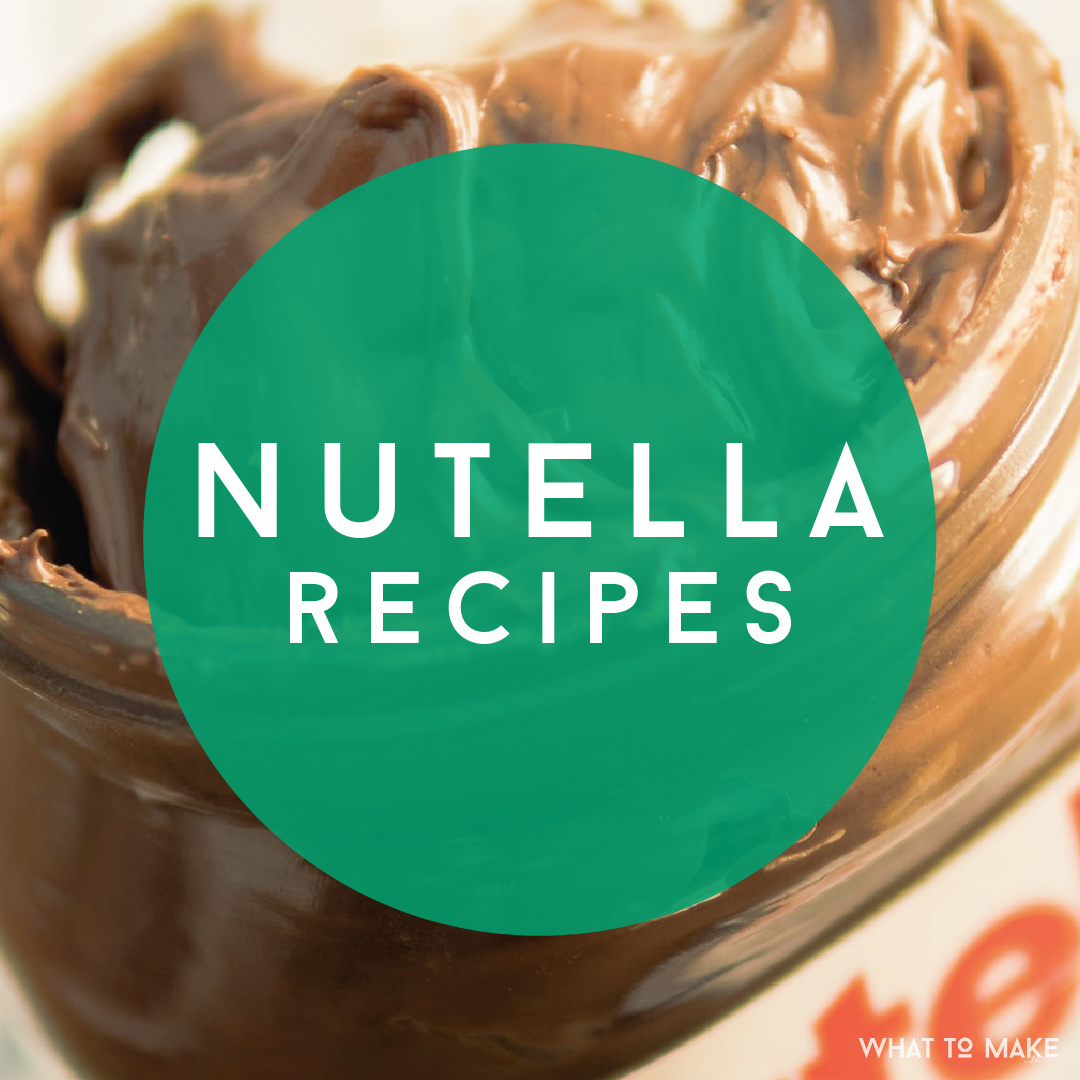 "Jar of Nutella, Chocolate Hazelnut spread. Text reads: ""Nutella Recipes"""
