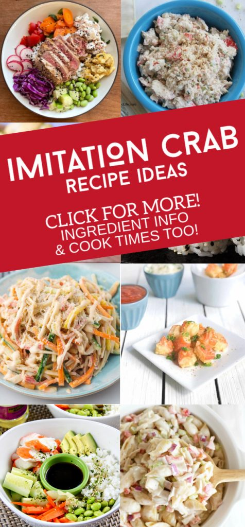 """Images of dishes made with imitation crab. Text reads: """"Imitation Crab Recipe Ideas"""""""