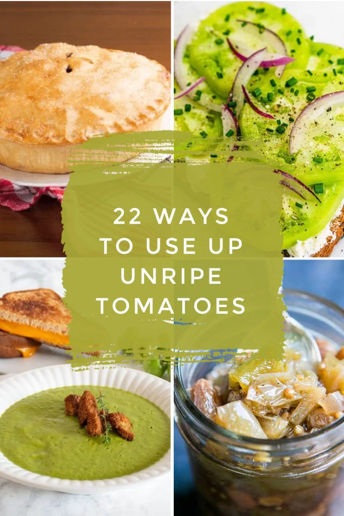"""Dishes made with green tomatoes. Text reads """"22 ways to use up unripe tomatoes"""""""