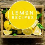 "Box of lemons. Text Reads: ""Lemon Recipes"""